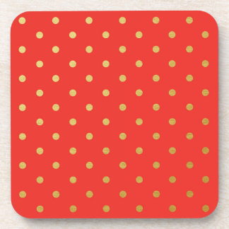 Faux Gold Foil Polka Dots Modern Cherry Red Drink Coaster