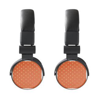 Faux Gold Foil Polka Dots Modern Orange Headphones
