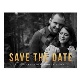 Faux Gold Foil Save the Date Photo Design Postcard
