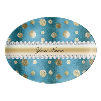 Faux Gold Foil Spots on Metallic Blue Porcelain Serving Platter
