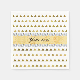 Faux Gold Foil Triangles Pattern and Diamonds Paper Napkin