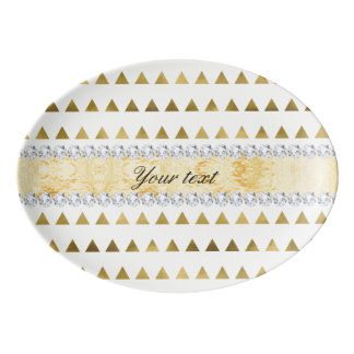 Faux Gold Foil Triangles Pattern and Diamonds Porcelain Serving Platter