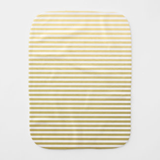 Faux Gold Foil White Stripes Pattern Burp Cloths