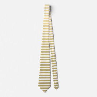 Faux Gold Foil White Stripes Pattern Tie