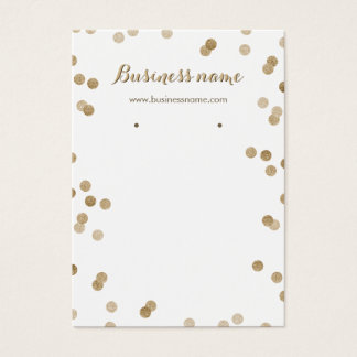 Faux Gold Glitter Dots Background Earring Cards