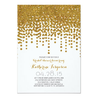 faux gold glitter foil confetti bridal shower card