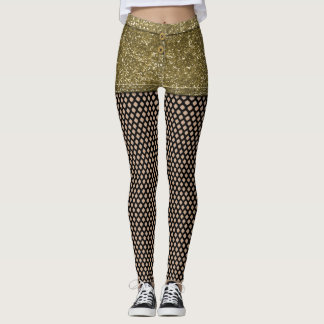 Faux Gold Glitter Hot Pants and Fishnets Leggings
