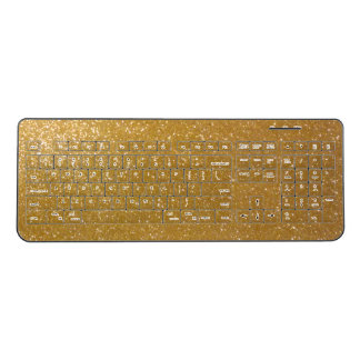Faux gold glitter image print wireless keyboard