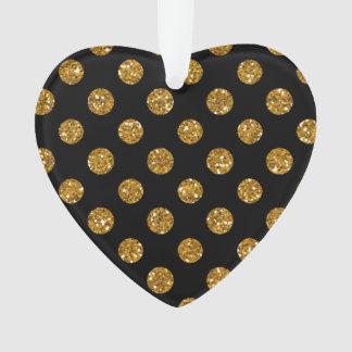 Faux Gold Glitter Polka Dots Pattern on Black Ornament