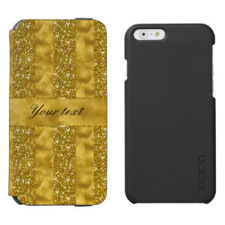 Faux Gold glitter stripes on Gold Foil Incipio Watson™ iPhone 6 Wallet Case