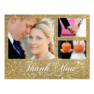 Faux Gold Glitter Thank You 3 Photo Postcard