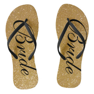 Faux gold glitter wedding flip flops for bride thongs