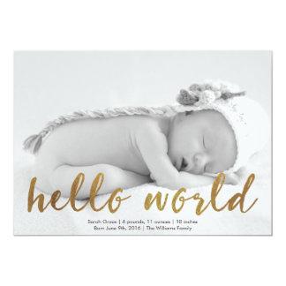 Faux Gold Hello World Photo Birth Announcement