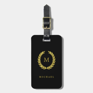 Faux Gold Laurel Wreath with Monogram on Black Luggage Tag