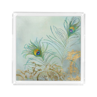 Faux Gold Leaf Vintage Scroll Peacock Feathers Art Acrylic Tray