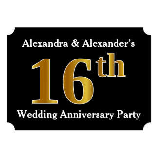 Faux Gold Look 16th Wedding Anniversary Party Card