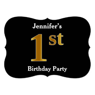 Faux Gold Look 1st Birthday Party + Custom Names Card