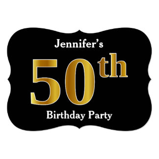 Faux Gold Look 50th Birthday Party + Custom Names Card