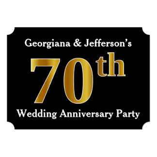 Faux Gold Look 70th Wedding Anniversary Party Card