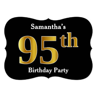 Faux Gold Look 95th Birthday Party + Custom Names Card
