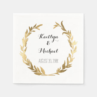 Faux Gold Olive Leaf Laurel Wreath Bride Reception Paper Napkin
