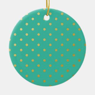 Faux Gold Polka Dots Teal Metallic Christmas Ornament