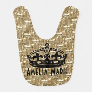Faux Gold print Crown custom baby bib