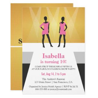 Faux Gold Runway Fashion Show Birthday Party 11 Cm X 16 Cm Invitation Card
