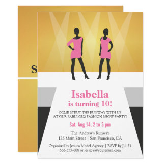 Faux Gold Runway Fashion Show Birthday Party Card