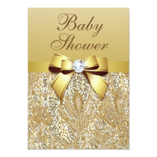 Faux Gold Sequins and Bow Baby Shower