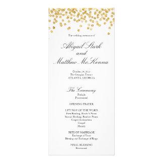 Faux Gold Sparkle Confetti Wedding Program Personalised Rack Card