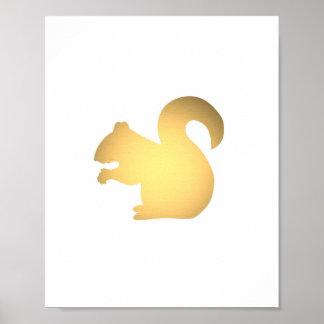 Faux gold squirrel silhouette cute animals print