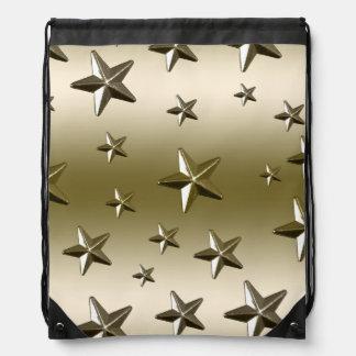 Faux Gold Stars Random Pattern Drawstring Bag