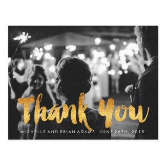Faux Gold Wedding Photo Thank You Card Postcard