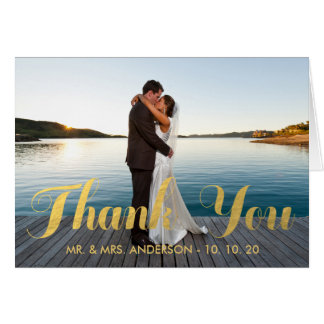 FAUX GOLD WEDDING THANK YOU WITH PHOTO NOTECARD