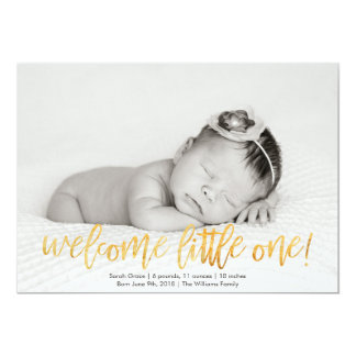 Faux Gold Welcome Little One Birth Announcement