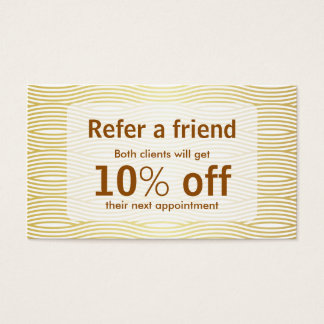 Faux Golden Wave Makeup Beauty Salon Referral Card