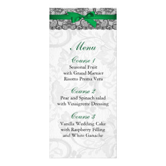 Faux lace and ribbon emerald green wedding Menu Rack Card Template