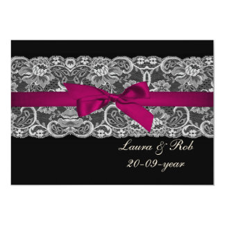 Faux lace and ribbon pink black  wedding Thank You 5x7 Paper Invitation Card
