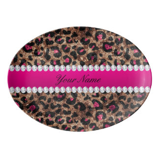 Faux Leopard Hot Pink Rose Gold Foil and Diamonds Porcelain Serving Platter