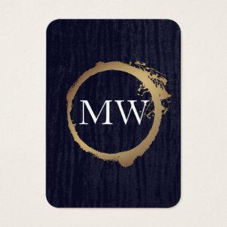 Faux Metallic Gold Velvet Blue with Monogram Business Card