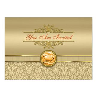 Faux Orange Topaz Gemstone Metallic Gold Damask 5x7 Paper Invitation Card