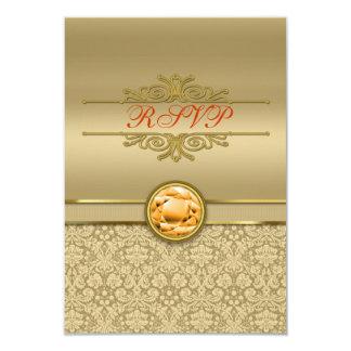 Faux Orange Topaz Gemstone Metallic Gold Damask 3.5x5 Paper Invitation Card
