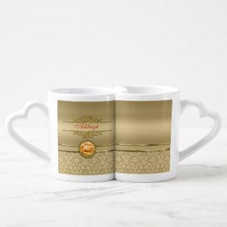 Faux Orange Topaz Gemstone Metallic Gold Damask Couples' Coffee Mug Set