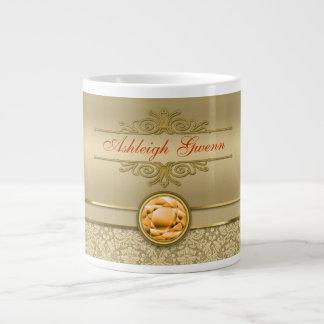 Faux Orange Topaz Gemstone Metallic Gold Damask 20 Oz Large Ceramic Coffee Mug