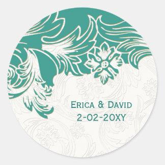 FAUX paper cutout blue envelope seals Round Sticker