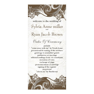 FAUX paper cutout effect brown Wedding program Customized Rack Card