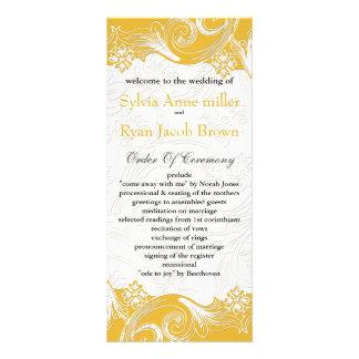 FAUX paper cutout effect yellow Wedding program Rack Card Template