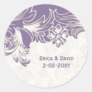FAUX paper cutout purple envelope seals Round Sticker