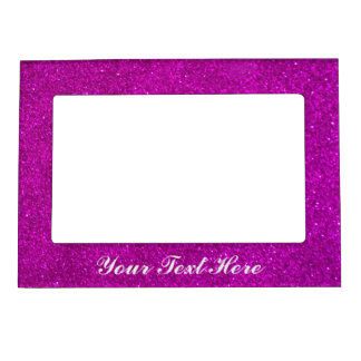 Faux pink glitter magnetic picture frame on fridge